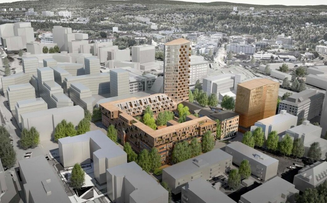 24 ETASJER: Planforslaget innebærer et påbygg på dagens bebyggelse, samt et tårnvolum på 24 etasjer. Ill: Lund+Slaatto Arkitekter