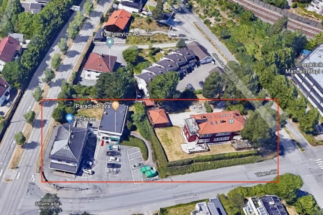HØYERE UTNYTTELSE:  NorgesGuppen ønsker høyere utnyttelse enn dagens situasjon med bygg på opptil fire etasjer. Foto: Google