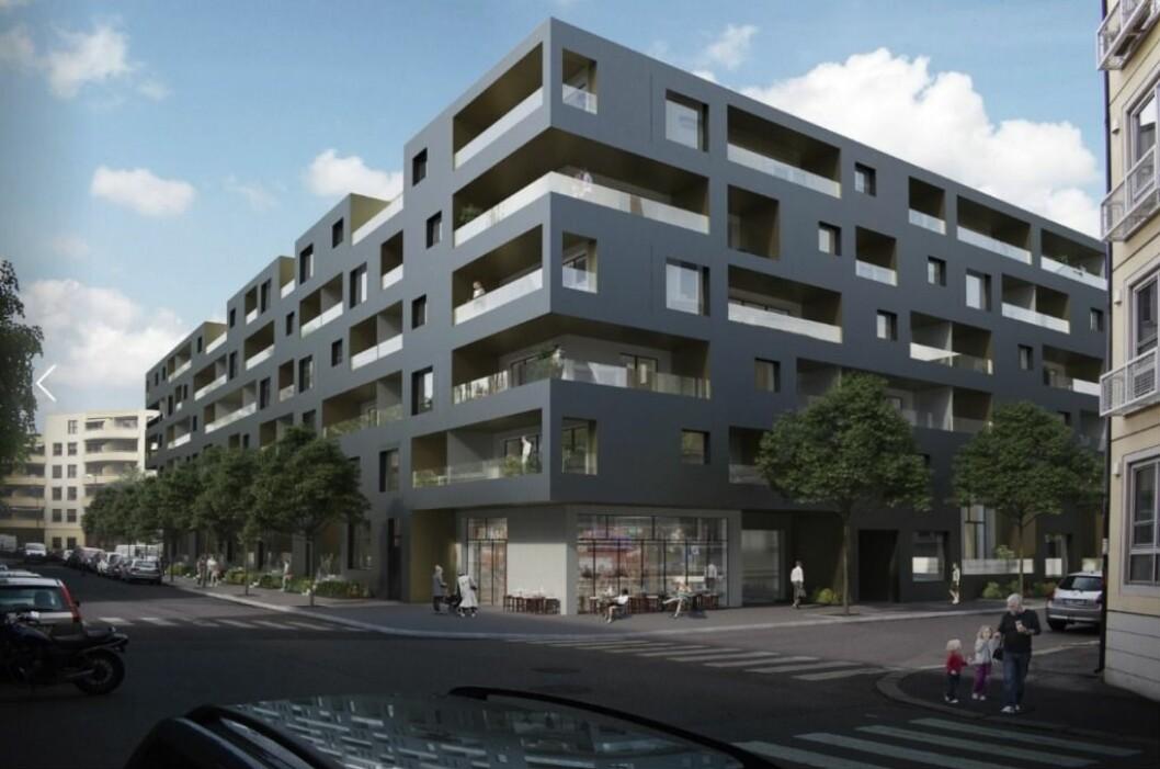 FORSLAG: Dette er forslaget til ny bebyggelse i Hedmarksgata 13-15 slik det ble omtalt tidligere i år. Nå har prosjektet byttet eier.(Ill.: A-Lab)