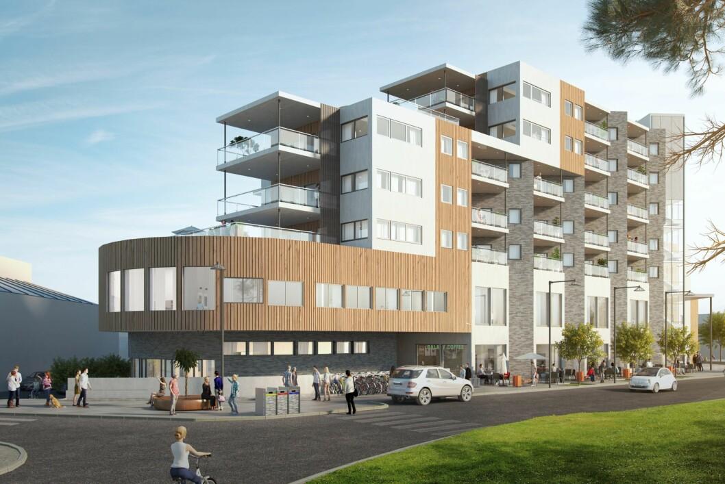 START: Årneskvartalet kan bli starten på noe nytt i Årnes sentrum. Ill.: Romerike arkitekter