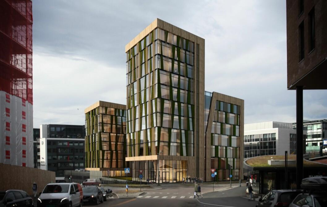 TIDSRIKTIG: Tiltakshaver vurderer å erstatte dagens bygg med et nytt moderne og tidsriktig kontorbygg. Ill: Nydalen Arkitektkontor