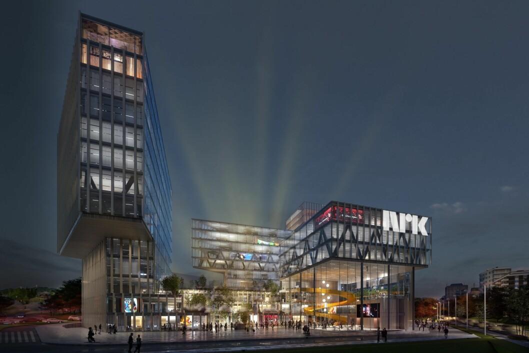 FORSLAG: Bonum vil ha NRK til sin tomt på Økern, og har lagd denne skissen sammen med Topic Archtecture og A-LAB.