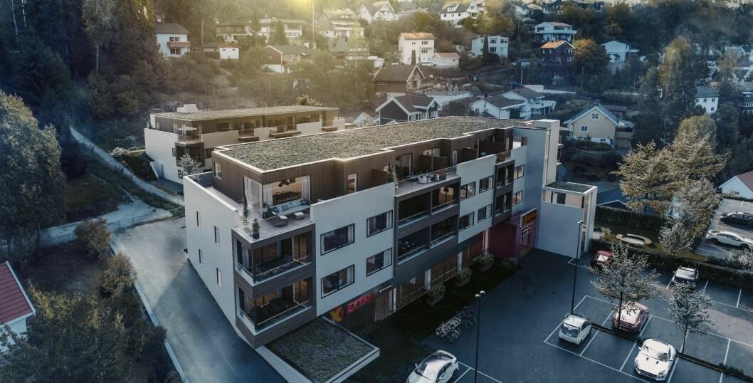 PÅ TAKET: P70 har vært regulert siden 2006. Nå skal eierne bygge blokker oppå butikken. Ill.: A Studio