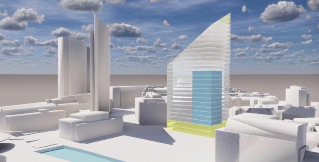 FRARÅDER: Entra fraråder bolig i prosjektet på grunn av for dårlig luftkvalitet og for høye støyverdier. (Fagkyndige: Civitas og Code Arkitektur)