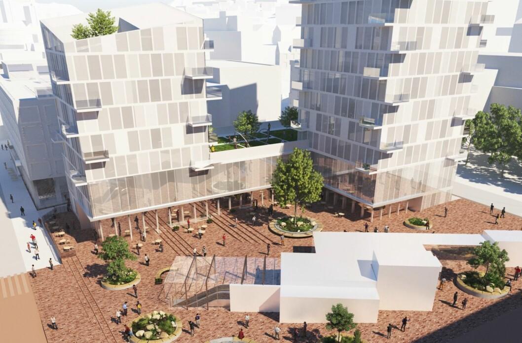 FOR HØYT: Ifølge Plan- og bygningsetaten er 12 etasjer for mye i Nydalen. ILL: MAD arkitekter