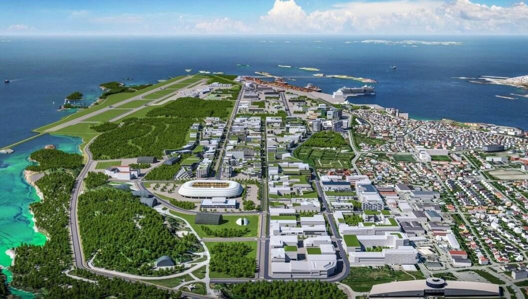 BYUTVIKLING: Når flyplassen i Bodø flyttes, forventer kommunen 10.000 nye arbeidsplasser i den nye bydel de neste 30 årene. Ill.: Bodø kommune