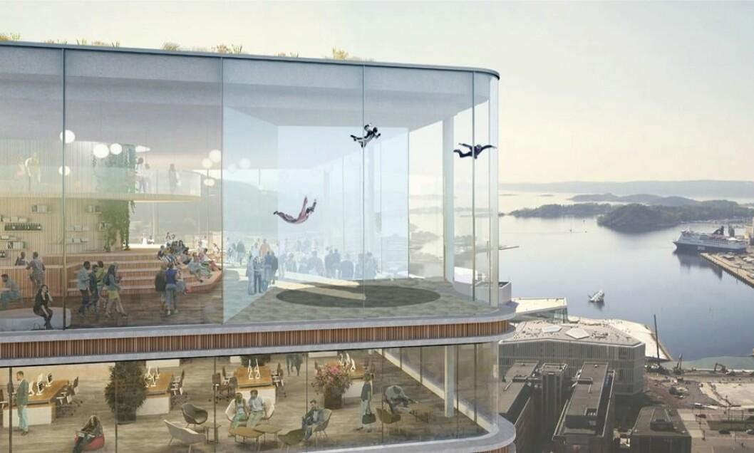 VINDTUNNEL: Kom fly med meg, heter forslaget til Mads Engh Juel. Han vil gi folk muligheten til å fly i vektløs tilstand på toppen av Oslo.