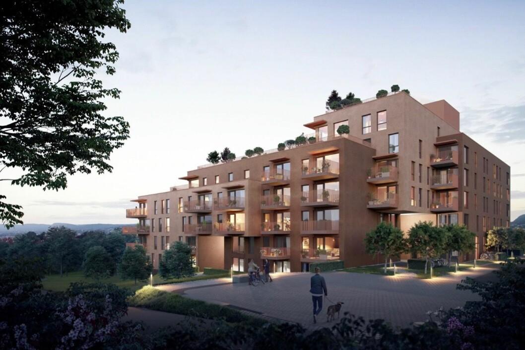 106 LEILIGHETER: Bunde Eiendom har søkt om å få bygge 106 leiligheter på tomten. Ill: Lund+Slaatto Arkitekter