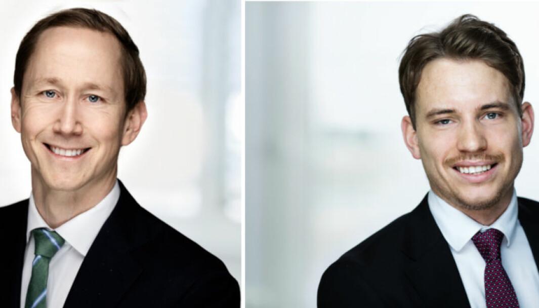 FORLENGES: Kontantstøtteordningen vil forlenges for tre nye måneder, sier Henrik Botten Taubøll (t.v.) og Peder Karijord i Wiersholm.