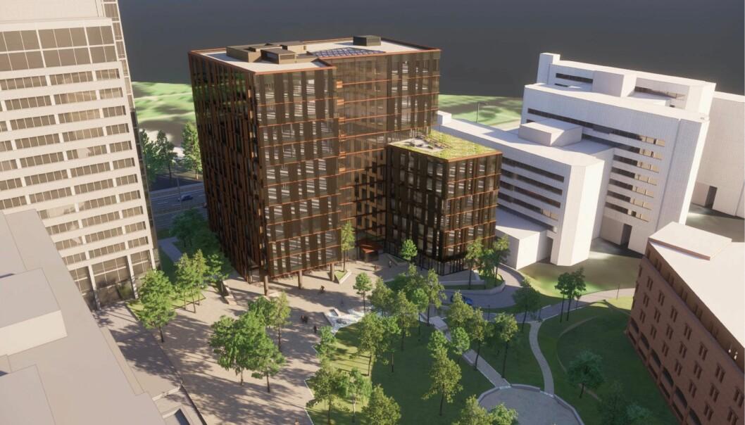 SKJERM: Det nye bygget skal skape en skjerm mot Strømsveien.
