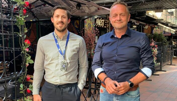 Spente: Eiendomskonsulent Andreas Sørum og eiendomssjef John Braastad i Thon Eiendom gleder seg til å ønske nye bedrifter velkomne til Torggata 11.