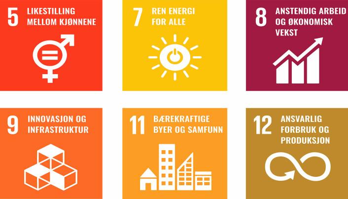 FNs bærekraftsmål består av 17 mål og 169 delmål. Kameo har trukket ut disse seks som de mest sentrale for å sikre med bærekraftig finansiering via plattformen.
