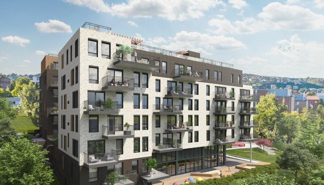 195 MILL: De to blokkene skal inneholde 79 leiligheter.