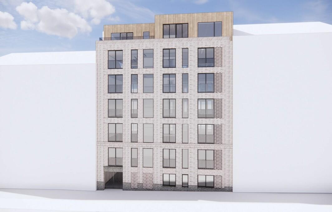 24 LEILIGHETER: Planen er å oppføre et bygg med 24 leiligheter samt et næringslokale på gateplan.