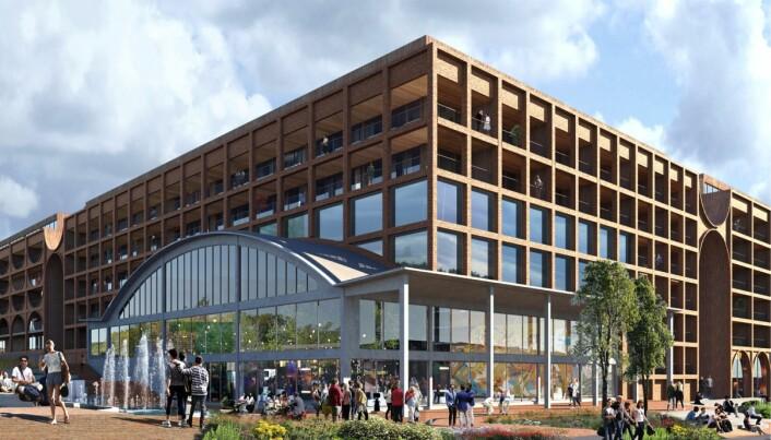 BILHALL: Møller Eiendom ønsker å inkorporere den eksisterende, listeførte bilhallen i prosjektet.