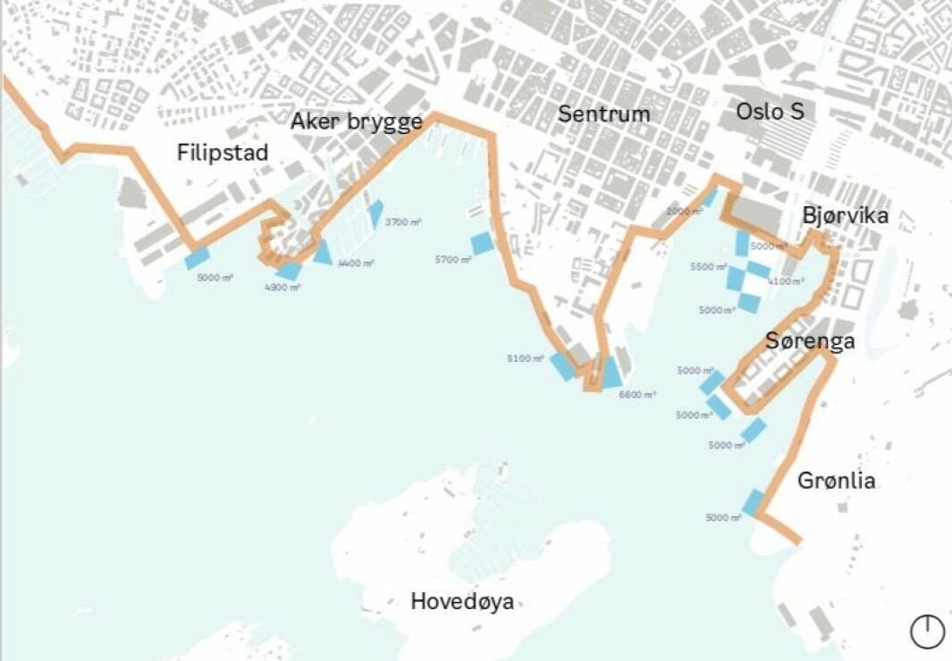 VURDERING: Bystyret har bedt om en vurdering av mulige løsninger for et flytende sjøbad langs Havnepromenaden iOslo.