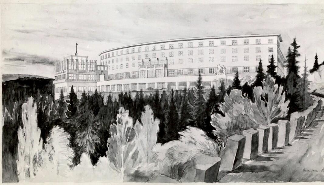 MODERNE: Slik så arkitekt Arnstein Rynning Arneberg for seg et nytt hotell etter krigen.