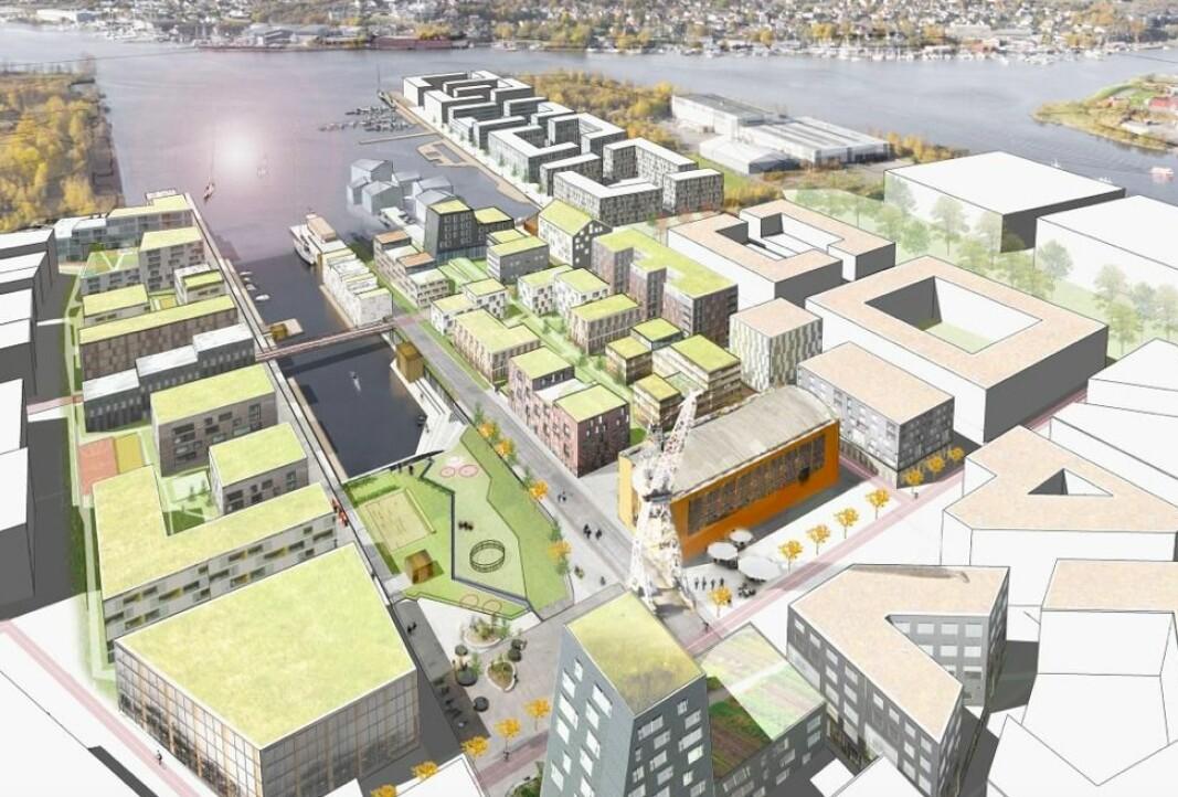 BYDEL: Selvaag og Jotne Eiendom vil bygge en ny bydel rundt den gamle dokka.