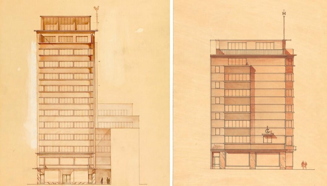 TO VERSJONER: Arkitekten visste han ville få høydemotstand og tegnet to versjoner.