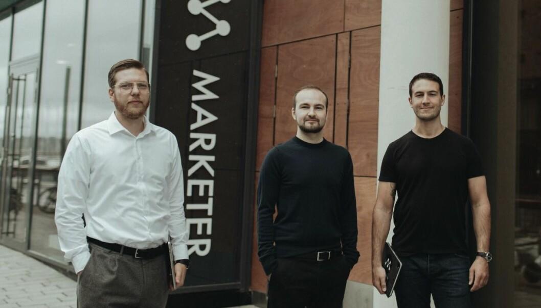 SATSER: Gründerne Jon Amdahl Martinsen (tv), Thomas Meyer og Amir Folkestad Habhab (th) skal skalere opp for internasjonalt salg.