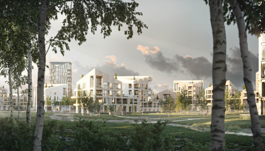 OMFATTENDE: Bonums siste utviklingsprosjekt i Lillestrøm kan gi plass til 500 boliger og 10.000 kvadratmeter næringsarealer. (Ill: Konseptstudie Bonum og Haptic)
