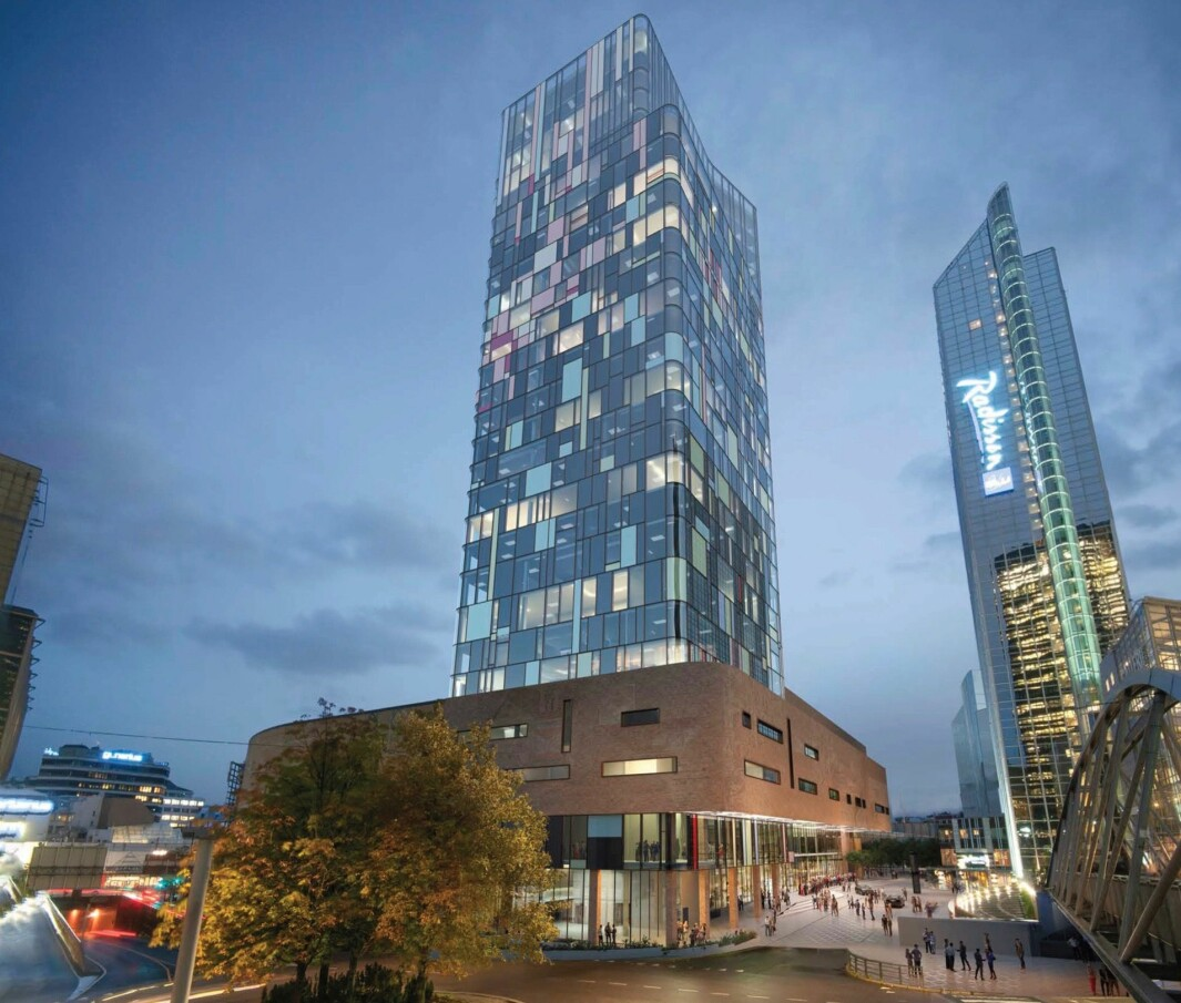 HØYHUS: Det foreslåtte høyhuset vil ha tilnærmet lik høyde som Oslo Plaza og Posthuset.