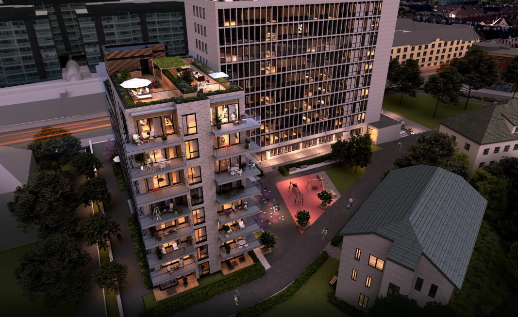 TRANSFORMERING: Torshovhøyden skal inneholde 130 leiligheter i to nye blokker og to rehabiliterte kontorblokker. Vestblokka til venstre.