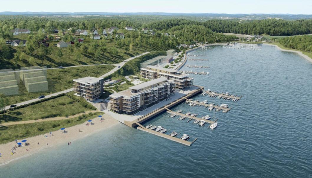 66 MILL.: Slik var planene for Solnes Brygge i Melsomvik i Sandefjord kommune. Nå går det mot salg av eiendommen, som var priset til 66 millioner kroner.(Ill.: Eiendomsmegler1)