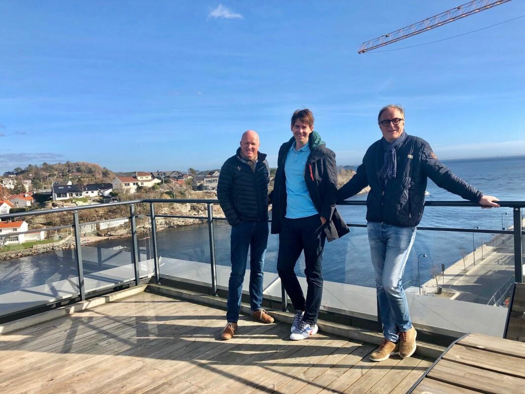1,5 MILLIARDER: Rune Iversen (fra venstre), Arild Skeie og Per Arne Kjøstvedt har nå eiendom for drøyt 1,5 milliarder kroner i Oksøy Eiendom.