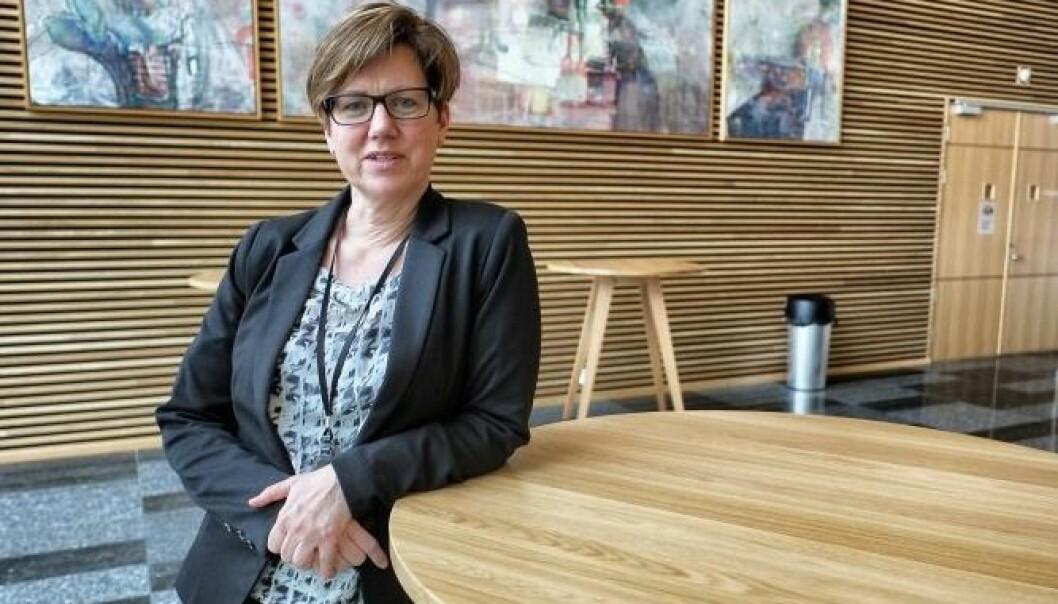 FORNØYD: Adm. direktør Kristin K. Boge i DNB Næringseiendom er fornøyd med miljøavtrykket etter å ha jobbet med ombruk for lokalene på Lillestrøm Torv.