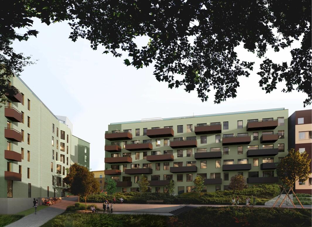 RIVER OG BYGGER NYTT: Forslaget skal legge til rette for gode og varierte boliger for flere beboergrupper, med oppholdsarealer både på bakken og på takterrasser.