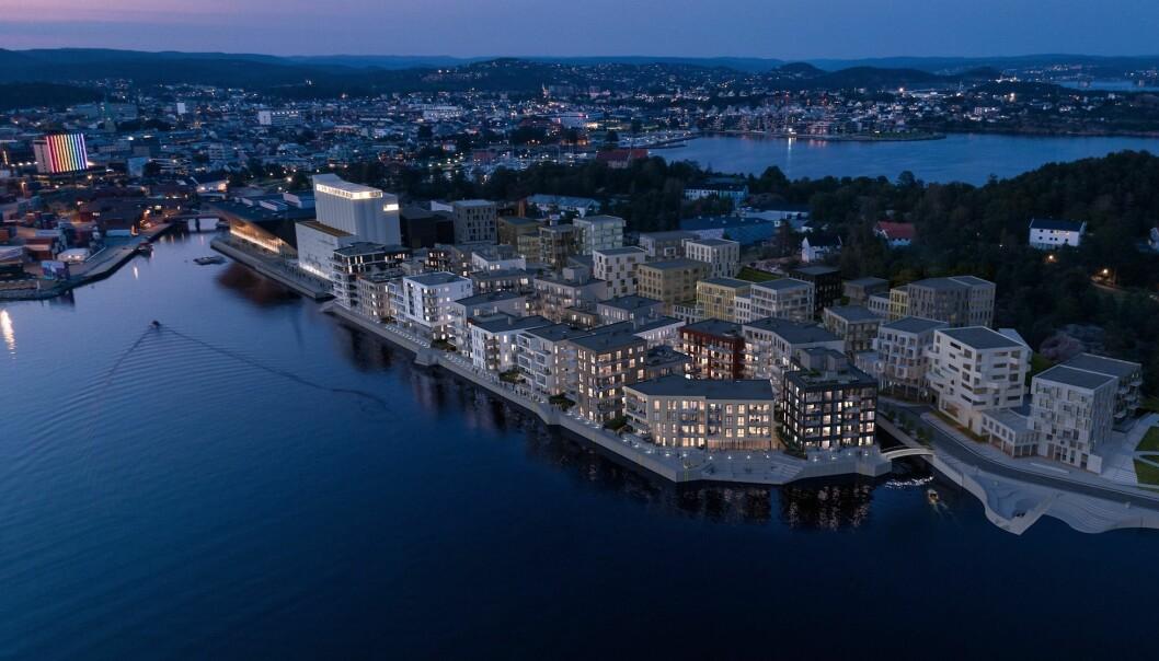 GÅR UNNA: Salget av boliger i Kanalbyen i Kristiansand går bra.