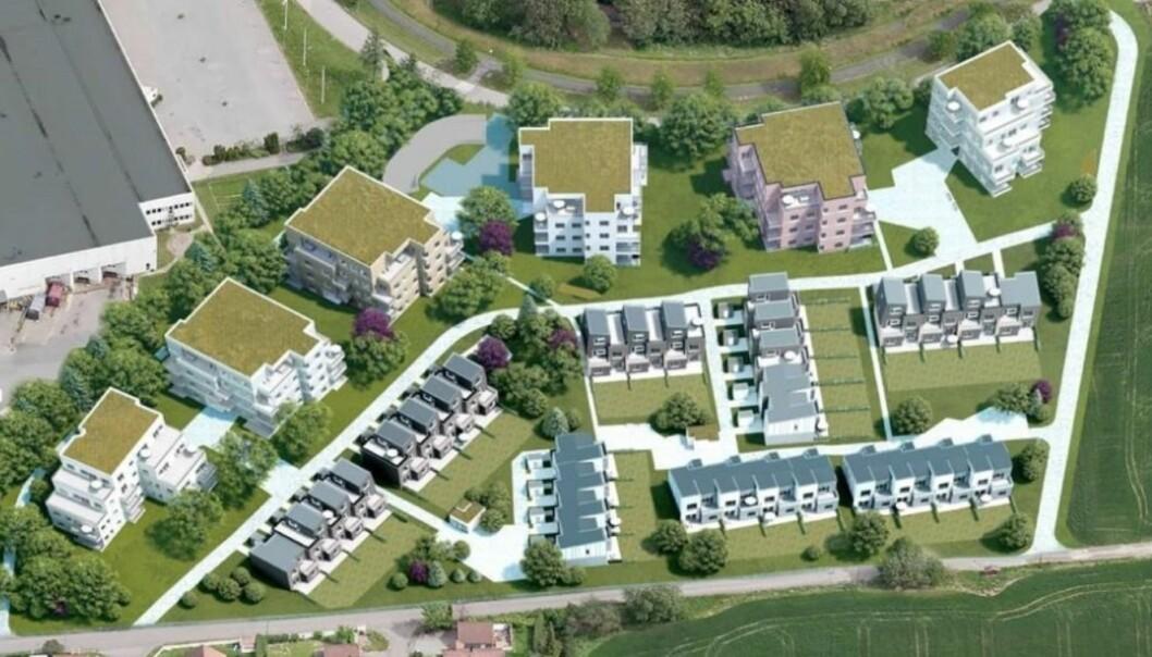 KOMBINASJON: Her skal det bygges 142 rekkehus og leiligheter på tre år.