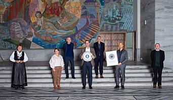 Fra venstre: Ordfører Marianne Borgen, Heidi Borgersen (Gullik Gulliksen Landskapsarkitekter), Inge Ormhaug (Lund+Slaato arkitekter), Mathis Grimstad (StorOslo Eiendom), Geir Johnsen, (StorOslo Eiendom), Espen Pedersen (Lund+Slaato arkitekter), Øystein Sundelin (leder av byutviklingsutvalget).