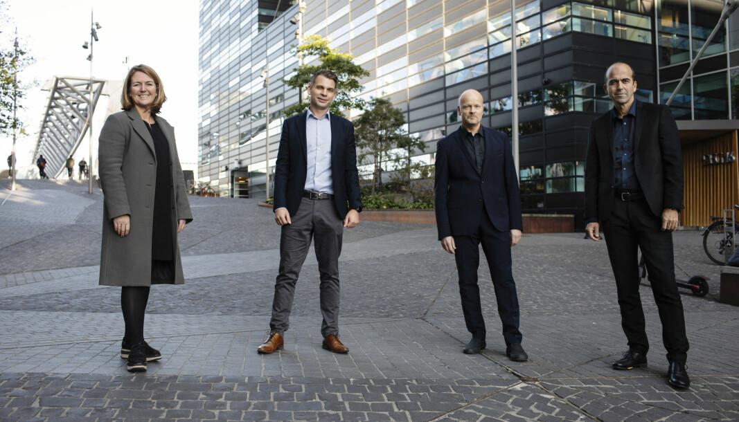 OPPKJØP: Swecos administrerende direktør Grete Aspelund og direktør i byggdivisjonen, Rasmus Nord, sammen med TAG-gründerne Morten Longum og Lars Eirik Ulseth.