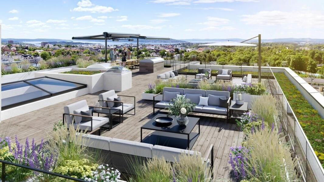 MANGE MULIGHETER: Til toppleiligheten medfølger det en takterrasse på over 400 kvadratmeter som «innbyr til mange muligheter for både velvære og selskapeligheter».