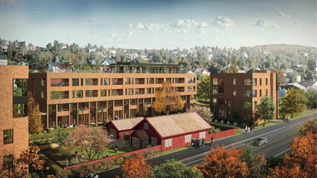 9 BYGG: Planforslaget inneholder 9 leilighetsbygg i 4-5 etasjer.