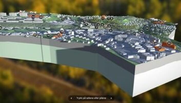 3D modell der boligkjøpere selv kan utforske nærmiljøet fra sofakroken