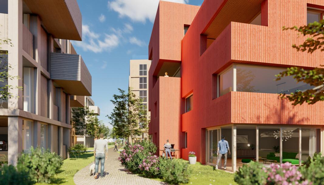 URBANT: Utbygger vil ha det urbant, kommunen ber dem dempe seg.