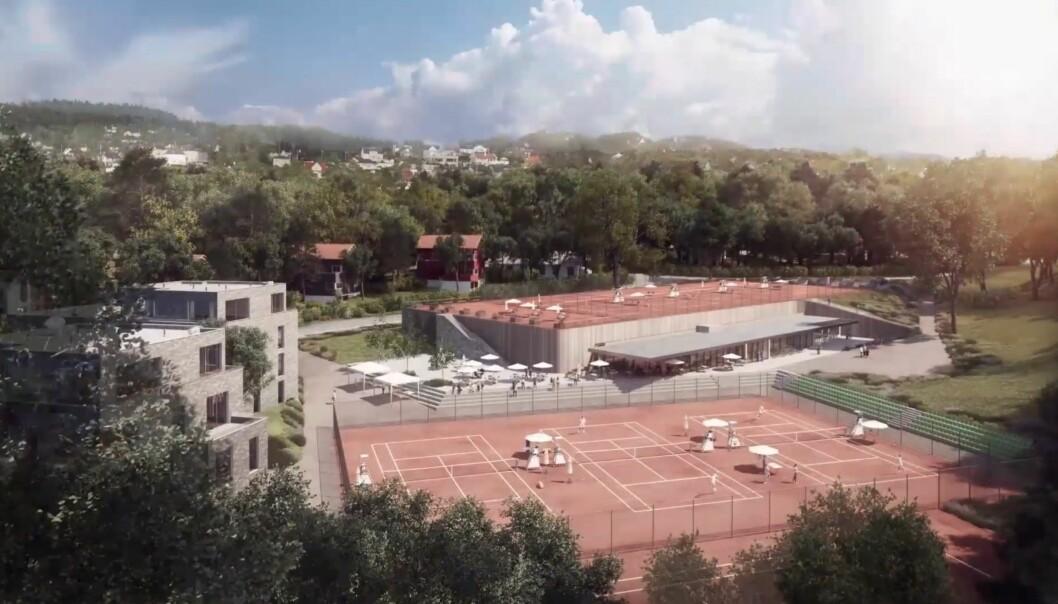 RINGSIDE: Man bør kanskje være i overkant interessert i tennis for å kjøpe bolig her.