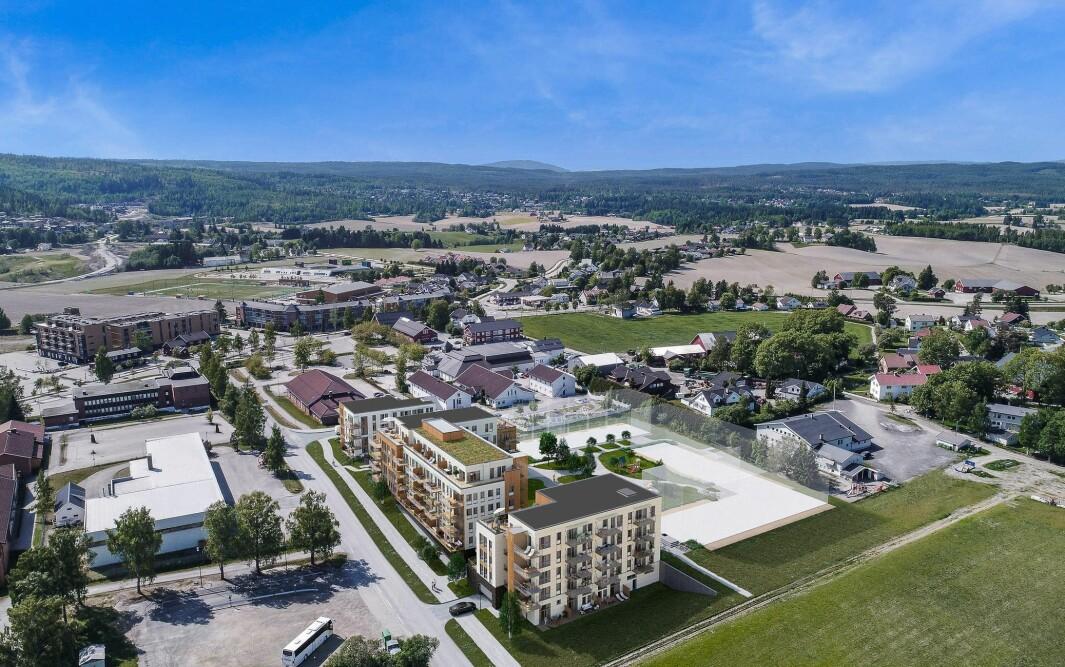 107 LEILIGHETER: De tre byggetrinnene rommer totalt 107 leiligheter.