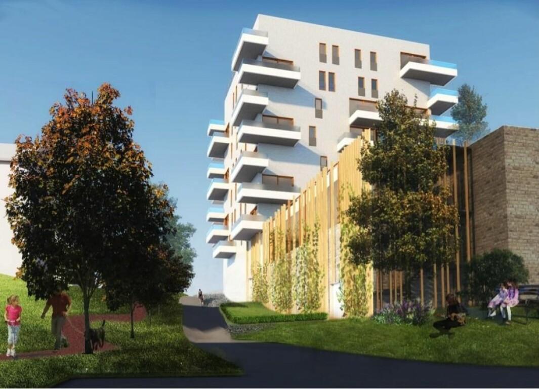 VIL BYGGE PÅ TAK: Den nye eieren ønsker å oppføre ny boligbebyggelse i syv etasjer på taket til det eksisterende forretningsbygget med Rema-butikk.