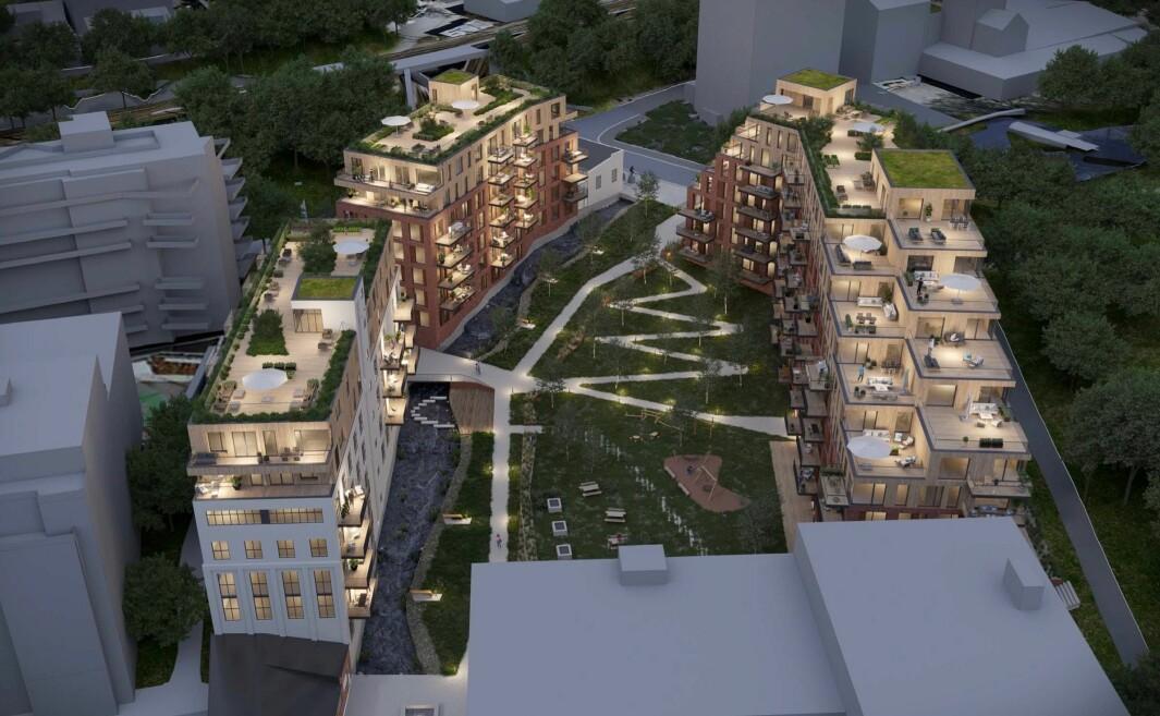 NYTT OG GAMMELT: Ett større industribygg vil bevares som et råbygg og bygges om til leiligheter. To nye etasjer bygges på toppen av eksisterende bygningskropp.
