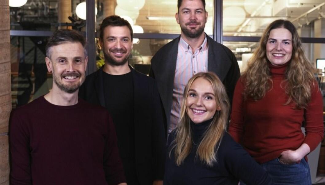 NYE PARTNERE I A-LAB: Fra venstre: James Watkins, Frédéric Bachmann, Pål Erik Olsen, Tina Torgrimsby og Line Janicke Musæus.