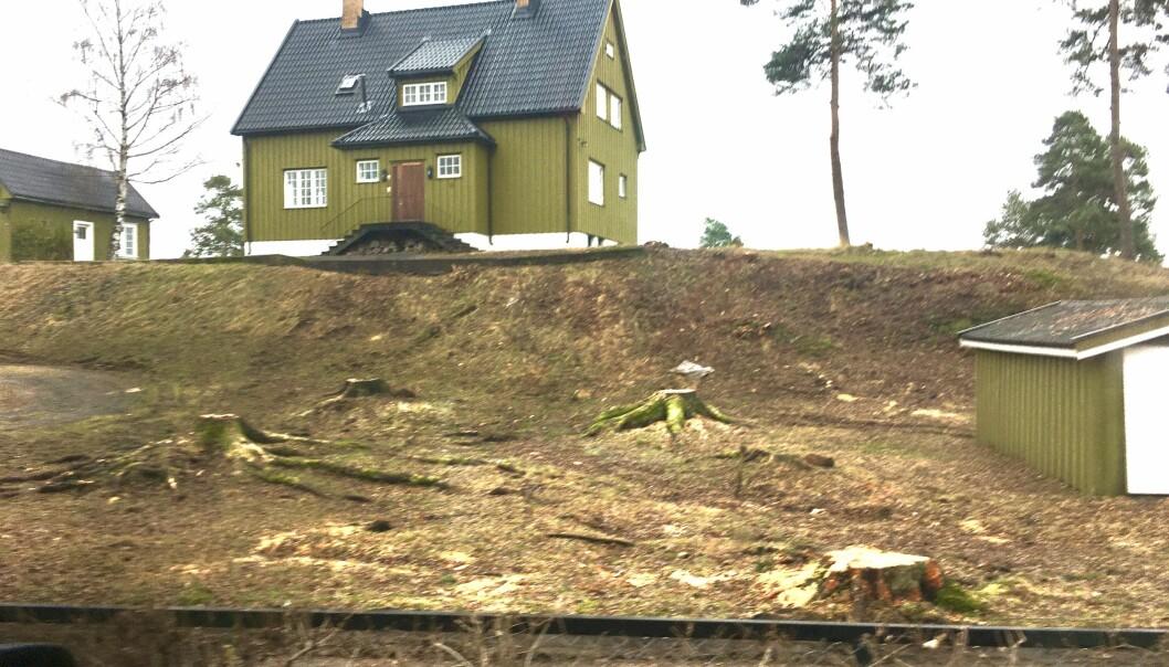 STANS: Denne eiendommen i Bærum ble kjøpt av administrerende direktør Christian Begby i Carnegie for 27 millioner kroner og var planlagt oppstykket til nye boliger. Nå er planene satt på vent.