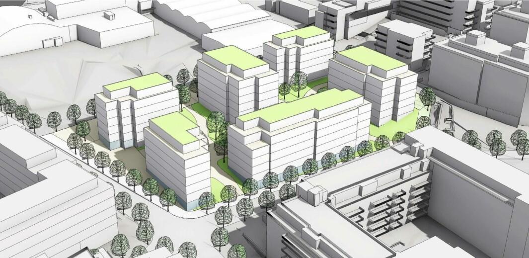 ÅPENT KVARTAL: Gladengveien 17 foreslås med ny boligbebyggelse i form av et åpent kvartal.