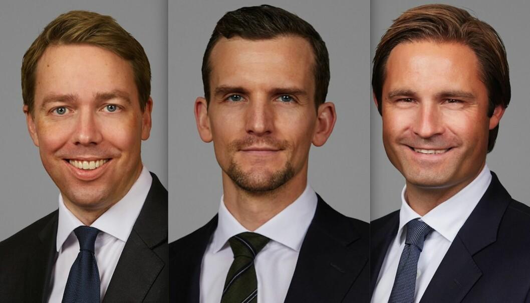 Artikkelforfatterne er advokat Eyvind Sandvik (tv), advokat Bård K. H. Berge og advokat Thomas Øslebø i Arntzen de Besche Advokatfirma AS.