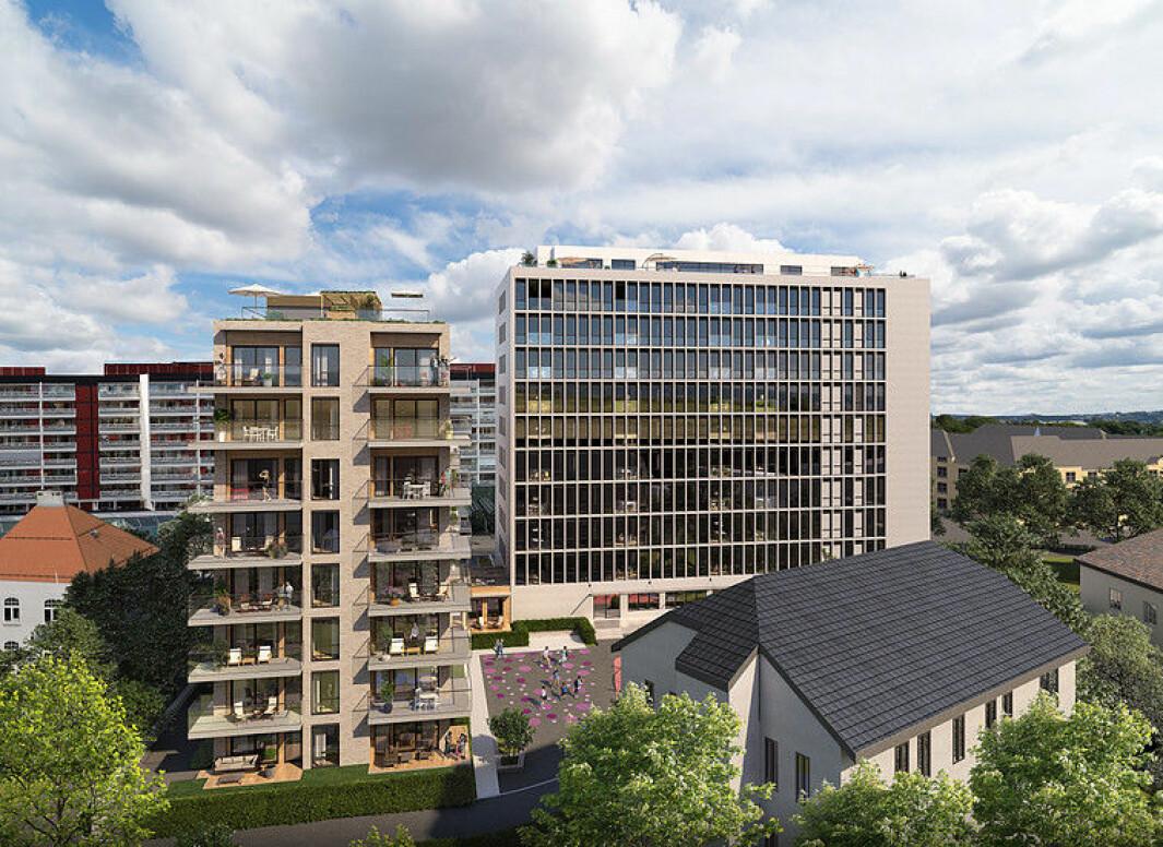 OMBYGGES: Høyblokka (til høyre) skal ombygges til et boligprosjekt i 11 etasjer med felles takterrasse.