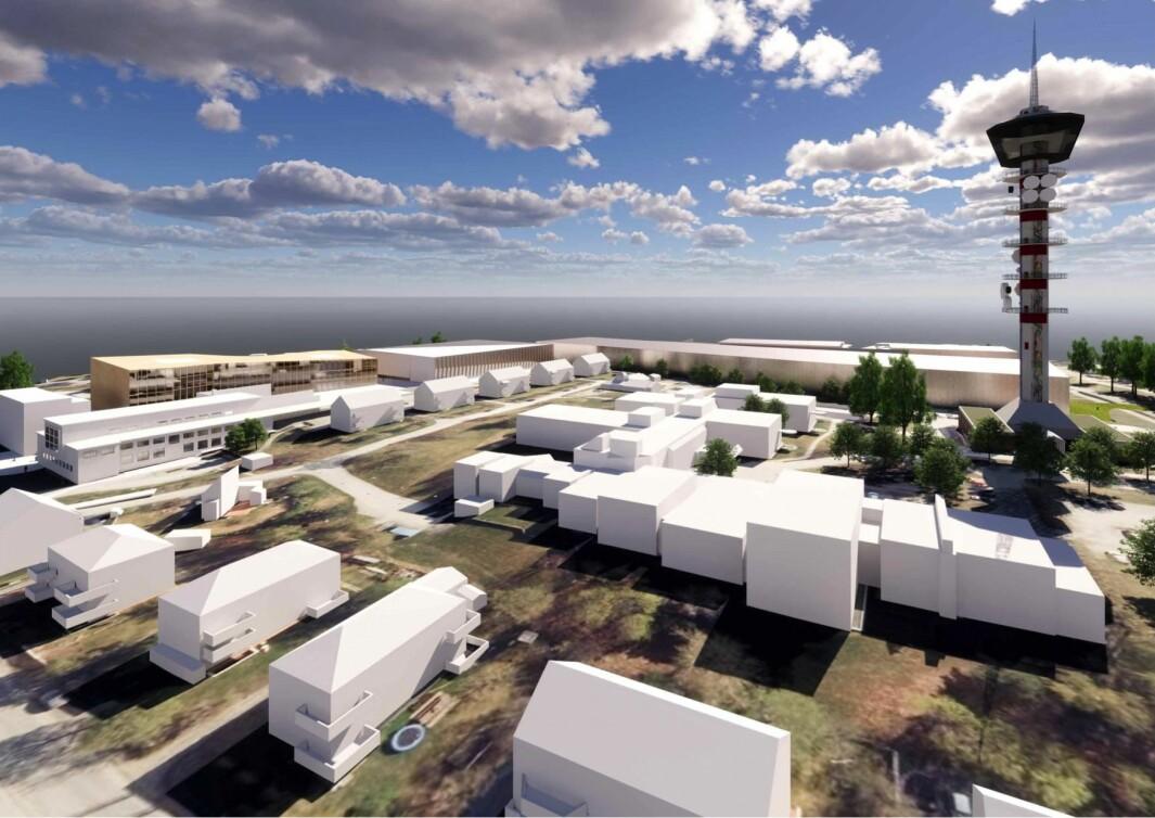 LANGTIDSPLAN: Ocean Space Centre skal oppføres like ved Tyholttårnet, og inngår i regjeringens langtidsplan for forskning og høyere utdanning 2019–2028.
