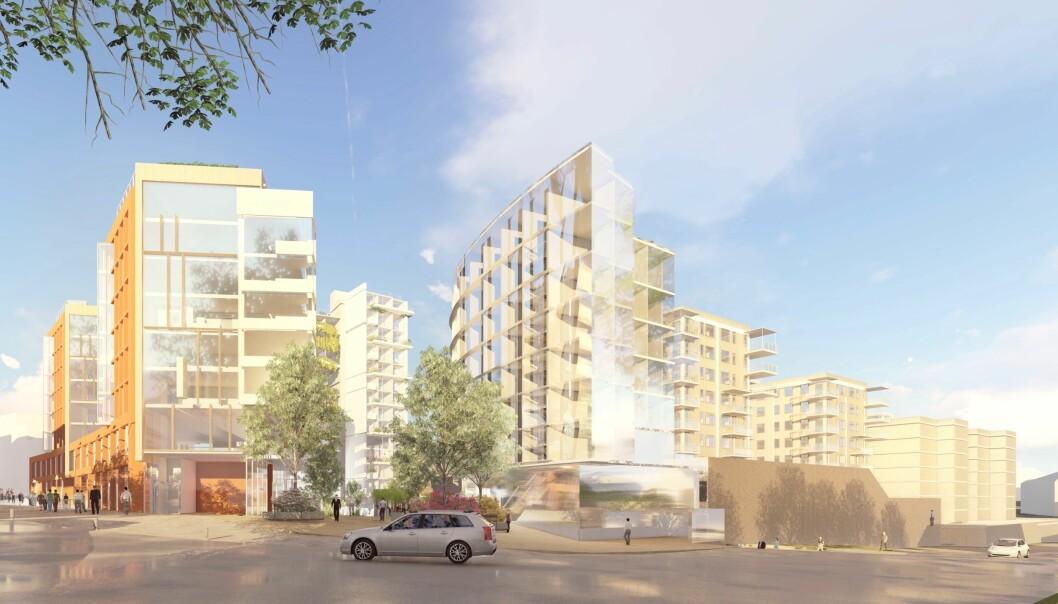 271 BOLIGER: Forslaget rommer 271 boliger, hotell med 100-120 rom og 4.579 kvadratmeter næring.